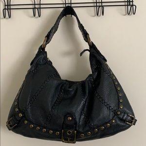 Isabella Fiore Black Leather Hobo Handbag